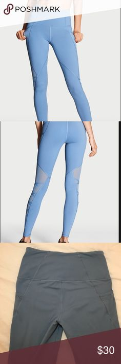 """Knockout by Victoria Sport High-rise Tight Legging **Looks Brand New**  name: """"Knockout"""" by Victoria Sport   size: M  color: light blue  Details: High waist, mesh detail on leg, pockets  I've worn and washed this pair of leggings once.  -I had a hard time getting an accurate photo showing the quality and details of the item, and still show color. I added stock photos . They show what the true color is.  -(Comparable size: I wear a 6-8 in Lululemon) Victoria's Secret Pants Leggings"""