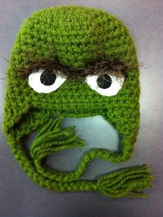 Oscar the Grouch Crochet hat, Adult, kid, baby, newborn sizes, Great photo prop. $20.00, via Etsy.