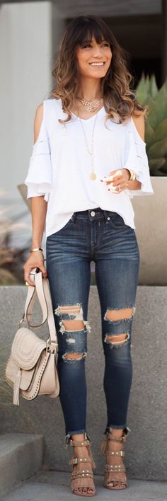 #summer #outfits  Another Cold Shoulder Top For The Win! Comes In White, Dusty Rose Pink, Black, And OliveShop My Top And Look // White Cold Shoulder Top + Destroyed Skinny Jeans + Grey Studded Sandals