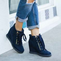 8886b30f6 Navy blue wedged bootie ..definitely would be comfy Navy Blue Wedges
