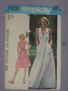 7431 Misses' Halter Dress in 2 Lengths -- Size 12 , cut Canada 150, Size 12, Ebay, Vintage, Dresses, Boss, Vestidos, Vintage Comics, Dress