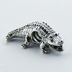 Silver Charm Bead Crocodile  $19.95aus With FREE WORLD SHIPPING ....BUY HERE NOW CLICK ON LINK HERE...... http://www.ebay.com.au/itm/Silver-bead-Crocodile-23mm-long-925-sterling-silver-for-charm-bracelet-new-look-/171916649598?ssPageName=STRK:MESE:IT