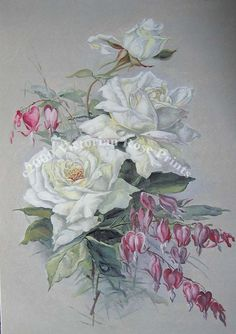 Print FREE SHIP White Bridal Cabbage Roses by VictorianRosePrints, $11.99