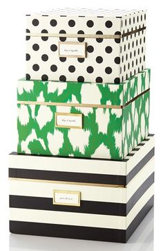 Free shipping and returns on kate spade new york storage nesting boxes (set of 3) at Nordstrom.com. Clashy and sassy, these adorable nesting boxes turn storage into a stylish opportunity. The large box accommodates sweaters or files, the medium is perfect for your papers, and the small is great for stationery.