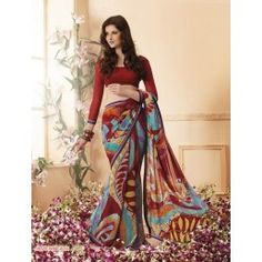 Red and Sky Blue color Printed Crepe saree