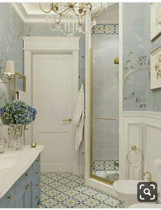 bathroom wallpaper gray design idea ideas decoration home decor 10 Reasons to Wallpaper Your Bathroom Yellow Bathrooms, White Bathroom, Modern Bathroom, Small Bathroom, Bathroom Accents, Master Bathroom, Zebra Bathroom, 1920s Bathroom, Bathroom Vintage