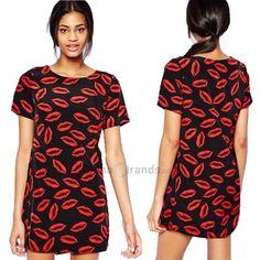 Black Dress Stylish Scoop Neck Short Sleeves Kiss Lips Short Sleeve Summer Dress For Women 123634301