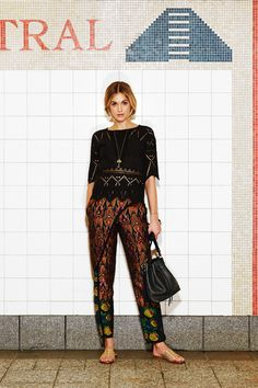 <strong>MEDIUM</strong> | A GYPSY MIX FOR THE WEEKEND: Patterned trousers like Dries Van Noten's jacquard versions can be an ideal base on which to build a casual but polished look. Add a lace blouse in white or black or even a white linen t-shirt and cardigan. Ulla Johnson Blouse, <em>$299, Warm, 212-925-1200;</em> Necklace, <em>$7,060, Aurélie Bidermann, 212-335-0604;</em> Carolina Bucci Bracelets, <em>$950 each, Bergdorf Goodman, 800-558-1855;</em> Dries Van Noten Pants, <em>$1,080, ...