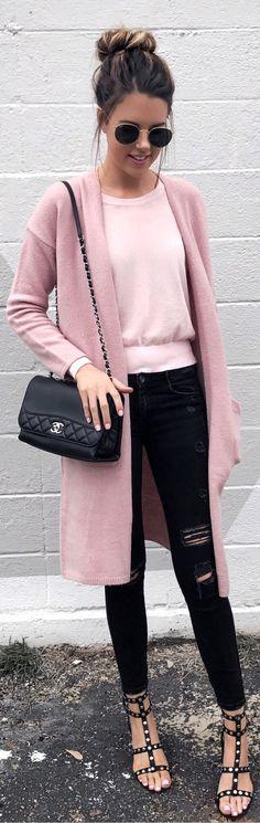 Pink Maxi Cardigan / Pink Knit / Black Ripped Skinny Jeans / Black Studded Sandals / Black Shoulder Bag