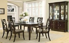 """Meredith Collection 103531 Espresso Formal Dining Table Set. Table expands to 92.5"""". Can buy buffet - hutch. Can buy extra chairs."""