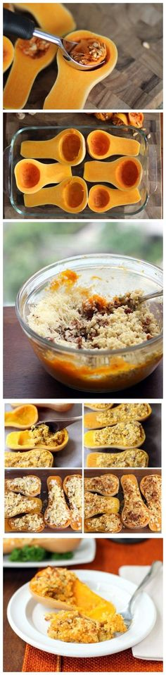 Twice-Baked Butternut Squash with Quinoa, Pecans, and Cheese! Holy Moley does this look delicious? Parrano cheese would be the addition you're looking for!