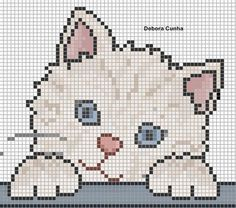 15 Ideas crochet baby blanket animals cross stitch for 2020 Cat Cross Stitches, Cross Stitch Baby, Cross Stitch Animals, Cross Stitch Charts, Cross Stitching, Cross Stitch Embroidery, Cross Stitch Patterns, Hand Embroidery, Baby Knitting Patterns