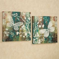 Butterflies Flight Canvas Set Multi Cool Set of Two