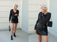 Patent Leather Skirt and Leather Ankle Boots #chic #elegant #minimal