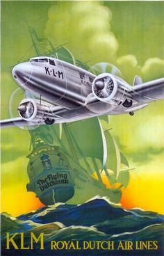 This poster was created in 1934 by E.Gaillard. It shows the first DC2 KLM used to fly to Paramaribo and Curacao.