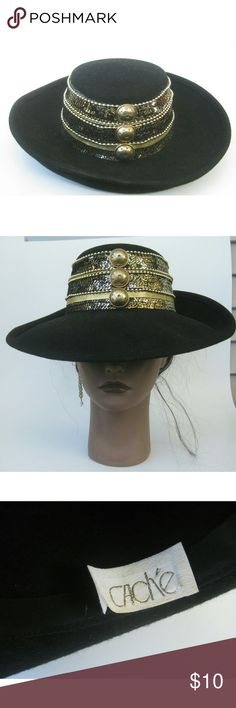 Retro Cache Brim Hat Beyoncé inspired brimhat. All original embellishments intact Great addition to your fall wardrobe  28 in circumference Wool felt material #brimhat #falltrends #hatworld #greatfind #bundleandsave Cache Accessories Hats