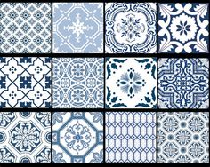 Kitchen bathroom Tile Decals Vinyl Sticker : Portugal Patchwork Pmix5 BlueBayu