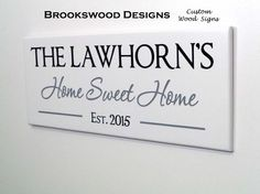 """Wood Family Name Sign with Quote""""Home Sweet Home"""" and Estabished Date Customized Last Name Wedding Gift Wall Plaque for Home Decor"""
