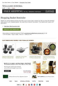William-Sonoma abandoned cart email #emailmarketing #emaildesigns 2014