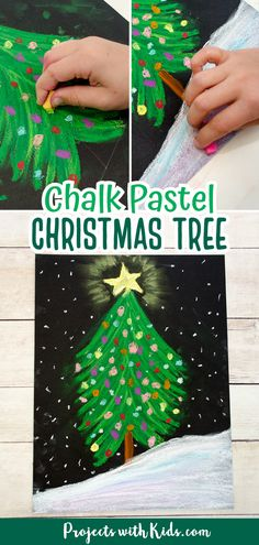 Kids will learn to draw a beautiful chalk pastel Christmas tree with this easy to follow tutorial! A fun Christmas art project kids of all ages will enjoy making.