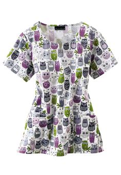 Cherokee Owl Be Seeing You notch neck print scrub top. - Scrubs and Beyond