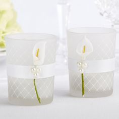 It's easy to add a touch of beauty to your wedding when you include these calla lily tealight holders.