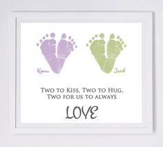 Twins Baby Footprint Art, Forever Prints. Mother's Day, New Mom, Dad, Grandma, Mother's Day. Choose colors. on Etsy, $30.00