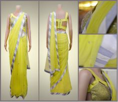 A golden touch to a bright yellow saree.