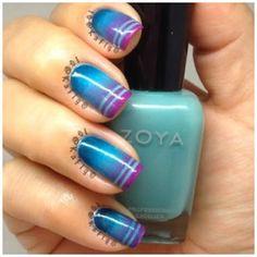 gradient tape nail art