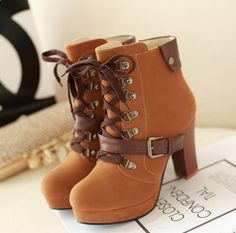 """Women fashion high-heeled martin boots. Use this coupon code """"playbanovici"""" to get all 10% off!"""