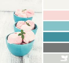 Strawberry ice cream inspired color palette. Possible bedroom color scheme.(Harmonious) - Living room