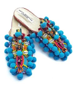 Pom Poms/Designer Anita Quansah's Hand-Embellished Babouche Slippers