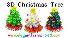 Rainbow Loom Christmas Tree 3D and Skirt Charm Holiday/Ornaments- How to Loom Band Tutorial by Elegant Fashion 360.