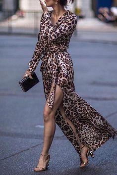 1a16e1318d5a Sexy Leopard Print Side Vented Long Sleeve Maxi Dresses