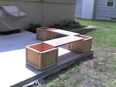 Really love these DIY outdoor benches made from cedar planters and planks.  Could use the planters for plants or as storage.