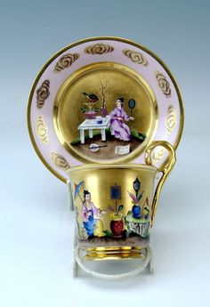 ALT WIEN SCHOKOLADEN TASSE CHINOISERIEN CHOCOLATE CUP CHINESE TYPE VIENNA 1817