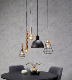 Large hanging lamp glass smokeWow, everyone want to be over their dining table ? This large 8 light hanging lamp completes Dining Room Design, Interior Design Living Room, Living Room Decor, Bedroom Decor, Metal Dining Table, Hanging Lights, Home Decor Inspiration, Modern Decor, Home Furniture