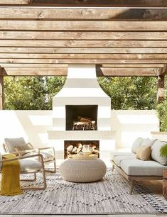 Outdoor Sofa, Outdoor Coffee Tables, Indoor Outdoor Rugs, Outdoor Spaces, Modern Outdoor Fireplace, Modern Patio, Modern Outdoor Living, Outdoor Living Rooms, Outdoor Carpet