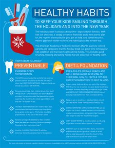 The American Academy of Pediatric Dentistry (AAPD) wants to remind parents and caregivers that the holiday break is a great time to help your kids establish and maintain healthy dental habits. This includes good brushing, flossing and eating habits that are essential for healthy teeth.