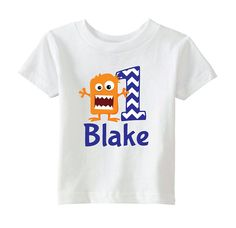 Adorable monster birthday shirt! Make your little ones birthday extra special with this personalized t-shirt! Customize with your childs name and age for the perfect party attire. The design is professionally applied to a high quality cotton t-shirt. To ensure correct sizing please review
