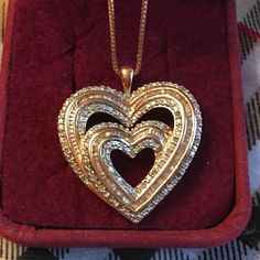 ROSE GOLD /diamond double heart necklace BEAUTIFUL...barely worn Rose gold diamond necklace Jewelry Necklaces