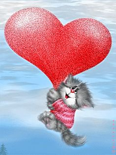 """Some kitty lovin' "" . Kitten Cartoon, Cute Cartoon, Crazy Cat Lady, Crazy Cats, I Love Cats, Cute Cats, Animated Heart, Photo Frame Design, Image Chat"