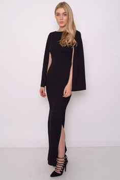 Image for Black Cape Sleeve Maxi Dress rarelondon.com