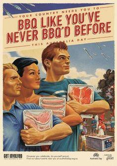 Barbecue poster for Australia Day. Australian Bbq, Australian Vintage, Vintage Advertisements, Vintage Ads, Vintage Posters, 1950s Advertising, Vintage Food, Australia Day Celebrations, Aussie Bbq