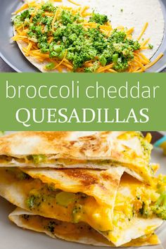 quesadilla recipes Broccoli and Cheddar Quesadillas! This broccoli and cheddar quesadilla may just make a believer out of your kidsand the spicy pico de gallo keeps it interesting for adventurous kids and adults alike. Quesadillas, Veggie Quesadilla, Vegetarian Quesadilla, Baby Quesadilla Recipe, Healthy Quesadilla Recipes, Baby Food Recipes, Mexican Food Recipes, Vegetarian Recipes, Dinner Recipes