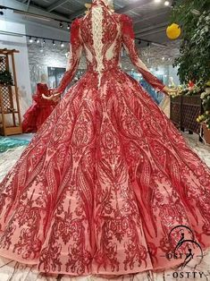 OSTTY - Red O Neckline Ball Gown Wedding Dresses With Lace Appliques