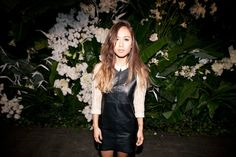 Special Events | Grandiflora   Rumi Neely in front of our tropical green wall at the Bec & Bridge SS12/13 show MBFWA  www.grandiflora.net