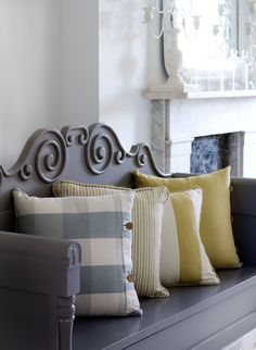 Yellow Pillows with gray vintage bench..Lovely~