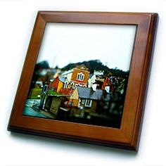A Little Group of Homes in Wales Done in a Tilt Shift and Made to Look Like Miniatures Framed Tile