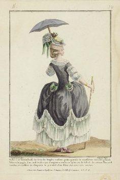 "http://www.mfa.org/: Gallerie des Modes et Costumes Français. 13e. Cahier des Costumes Français, 7e Suite d'Habillemens à la mode. N.74 ""Robe à la Versailloise de Gros de Naples..."" French, 1778 Designed by Pierre-Thomas LeClerc, French, about 1740–after 1799 Engraved by Nicolas Dupin, French Publisher Esnauts et Rapilly, French, 18th century"